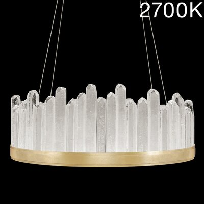 Lior Round Rock 20-Light Crystal Pendant Finish: Gold