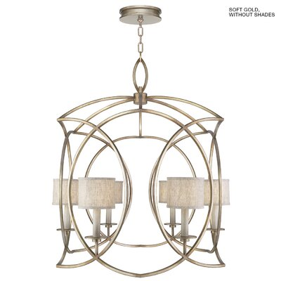 Cienfuegos 6-Light Candle-Style Chandelier Finish: Soft Gold, Shade Included: Yes, Size: 41.75 H x 36 W x 36 D