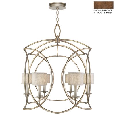 Cienfuegos 6-Light Candle-Style Chandelier Finish: Antique Bronze, Shade Included: Yes, Size: 41.75 H x 36 W x 36 D