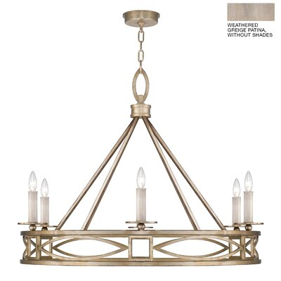 Cienfuegos 6-Light Candle-Style Chandelier Finish: Weathered Gray Patina, Shade Included: Yes, Size: 29.5 H x 39.5 W x 39.5 D