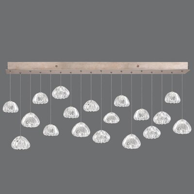 Natural Inspirations Glass Drop 18-Light Kitchen Island Pendant Finish: Gold