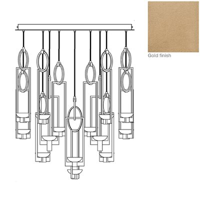 Delphi 16-Light Kitchen Island Pendant Finish: Gold