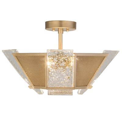 Crownstone 4-Light Semi-Flush Mount Fixture Finish: Gold