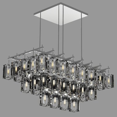 Monceau 40-Light Crystal Chandelier Finish: Silver