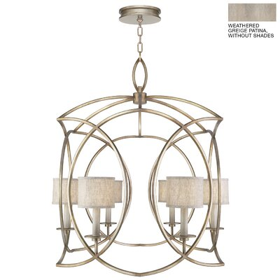 Cienfuegos 6-Light Candle-Style Chandelier Finish: Weathered Gray Patina, Shade Included: Yes, Size: 41.75 H x 36 W x 36 D