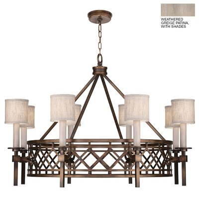 Cienfuegos 8-Light Candle-Style Chandelier Finish: Weathered Gray Patina, Shade Included: Yes, Size: 27.5 H x 39 W x 39 D
