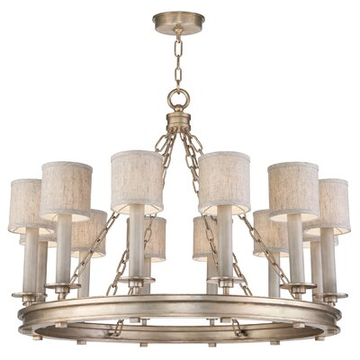 Cienfuegos 12-Light Candle-Style Chandelier Finish: Soft Gold, Shade Included: No, Size: 26 H x 31 W x 31 D