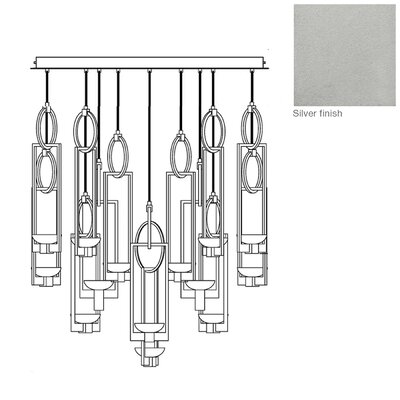 Delphi 16-Light Kitchen Island Pendant Finish: Silver