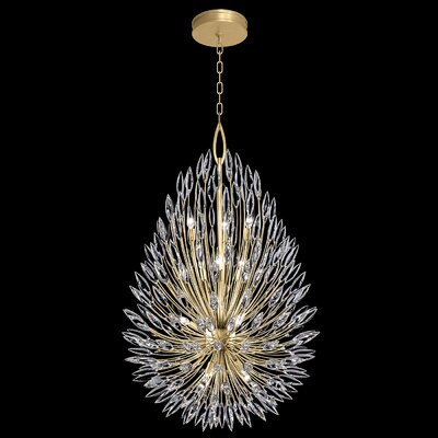 Lily Buds 12-Light Crystal Pendant Finish: Gold