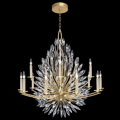 Lily Buds 15-Light Candle-Style Chandelier Finish: Gold