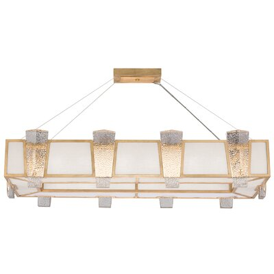Crownstone Glass 16-Light Candle-Style Chandelier Finish: Gold, Shade Material: Fabric