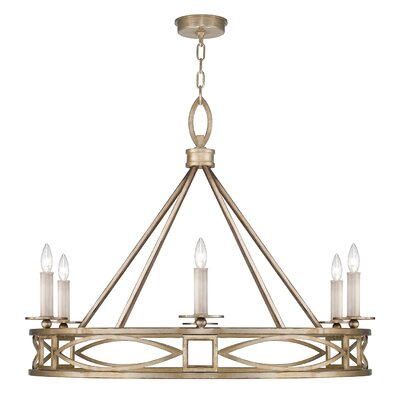 Cienfuegos 6-Light Candle-Style Chandelier Finish: Soft Gold, Shade Included: Yes, Size: 29.5 H x 39.5 W x 39.5 D