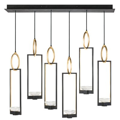 Delphi 6-Light Kitchen Island Pendant Finish: Black