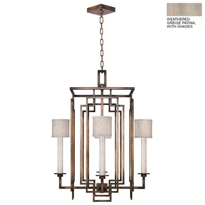 Cienfuegos 4-Light Candle-Style Chandelier Finish: Weathered Gray Patina, Shade Included: Yes, Size: 30.5 H x 24 W x 24 D