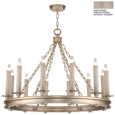 Cienfuegos 12-Light Candle-Style Chandelier Finish: Weathered Gray Patina, Shade Included: Yes, Size: 26 H x 33.5 W x 33.5 D