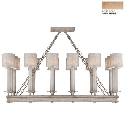 Cienfuegos 14-Light Candle-Style Chandelier Finish: Soft Gold, Shade Included: Yes, Size: 16.5 H x 42 W x 19.5 D