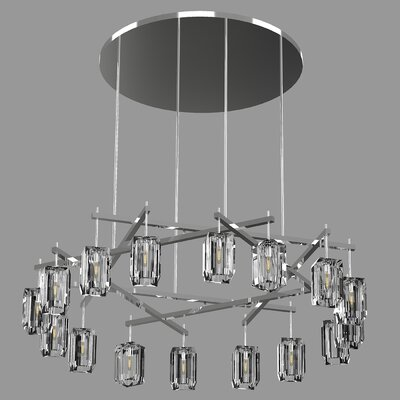 Monceau Sculptural Block 16-Light Crystal Chandelier Finish: Silver, Size: 65 H x 66.5 W x 66.5 D