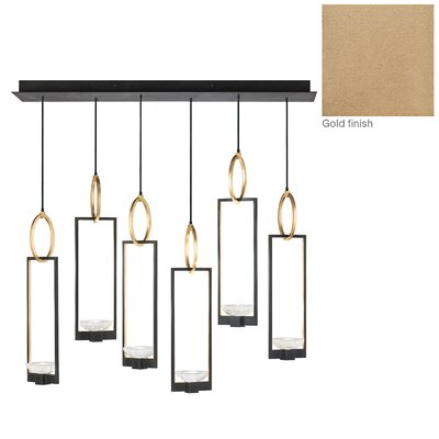 Delphi 6-Light Kitchen Island Pendant Finish: Gold
