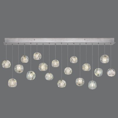 Natural Inspirations Drop Light 18-Light Kitchen Island Pendant Finish: Silver, Size: 16 H x 54 W x 17 D