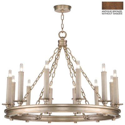 Cienfuegos 12-Light Candle-Style Chandelier Finish: Antique Bronze, Shade Included: Yes, Size: 26 H x 33.5 W x 33.5 D