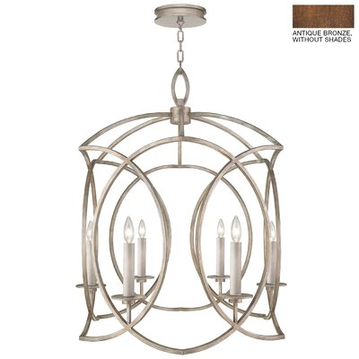 Cienfuegos 6-Light Candle-Style Chandelier Finish: Antique Bronze, Shade Included: Yes, Size: 36 H x 30.5 W x 30.5 D