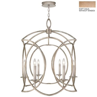Cienfuegos 6-Light Candle-Style Chandelier Finish: Soft Gold, Shade Included: Yes, Size: 36 H x 30.5 W x 30.5 D