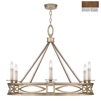 Cienfuegos 6-Light Candle-Style Chandelier Finish: Antique Bronze, Shade Included: Yes, Size: 29.5 H x 39.5 W x 39.5 D