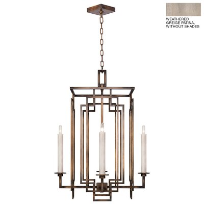Cienfuegos 4-Light Candle-Style Chandelier Finish: Weathered Gray Patina, Shade Included: No, Size: 30.5 H x 22 W x 22 D