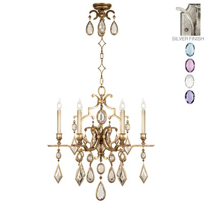 Encased Gems 6-Light Candle-Style Chandelier Finish: Vintage Silver Leaf, Crystal: Multicolor