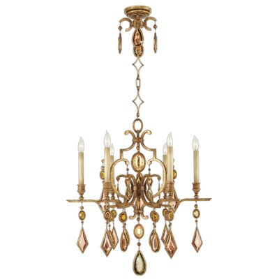 Encased Gems 6-Light Candle-Style Chandelier Finish: Variegated Gold Leaf, Crystal: Clear