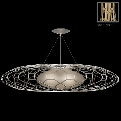 Allegretto 3-Light Geometric Pendant Finish: Burnished Gold