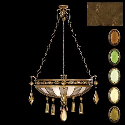 Encased Gems 3-Light Inverted Pendant Crystal Color: Smoky Quartz, Brown, Amber and Peridot