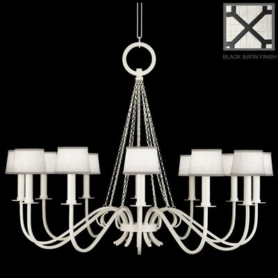 Black + White Story 12-Light Candle-Style Chandelier Finish: Black Satin