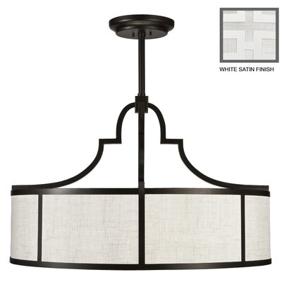 Black + White Story 8-Light Drum Pendant Finish: Studio White Satin