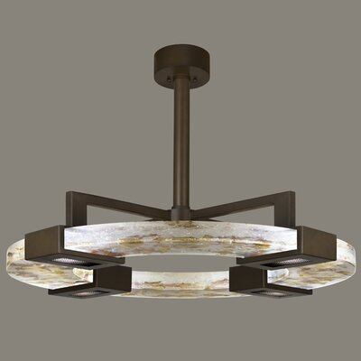 Crystal Bakehouse 4-Light Pendant Finish: Bronze, Shade Color: Cobalt and Aqua