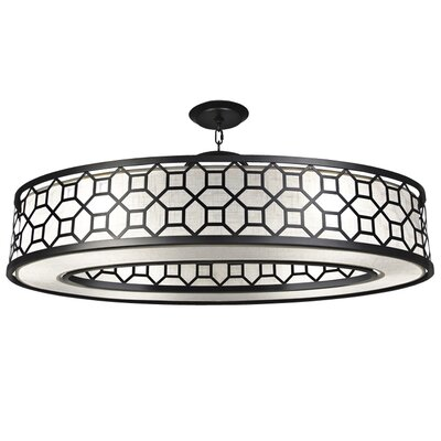 Black + White Story 6-Light Drum Pendant Finish: Black Satin