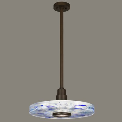 Crystal Bakehouse 1-Light Drum Pendant Finish: Bronze, Shade Color: Cobalt and Aqua