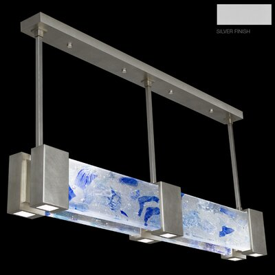 Crystal Bakehouse 6-Light Kitchen Island Pendant Finish: Silver, Shade Color: Cobalt and Aqua