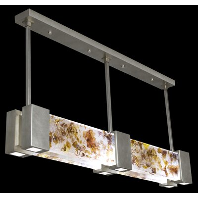 Crystal Bakehouse 6-Light Kitchen Island Pendant Shade Color: Carnelian and Citrine, Finish: Silver Leaf