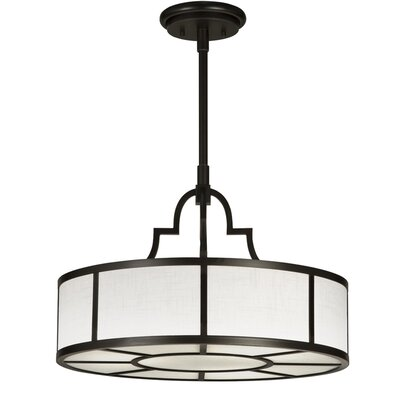 Black + White Story 3-Light Drum Pendant Finish: Black Satin