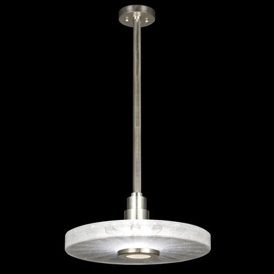 Crystal Bakehouse 1-Light Drum Pendant Shade Color: Clear, Finish: Silver Leaf