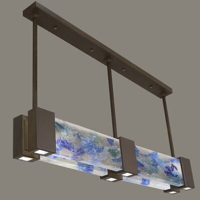 Crystal Bakehouse 6-Light Kitchen Island Pendant Finish: Bronze, Shade Color: Cobalt and Aqua