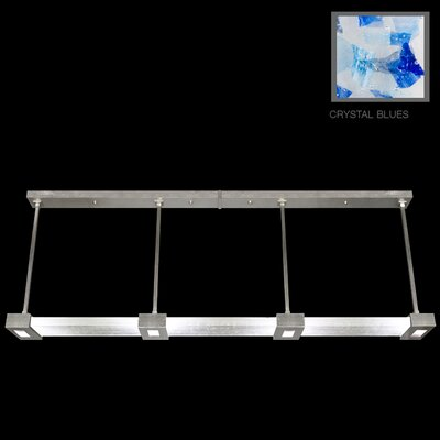 Crystal Bakehouse 4-Light Kitchen Island Pendant Finish: Silver Leaf, Shade Color: Cobalt and Aqua