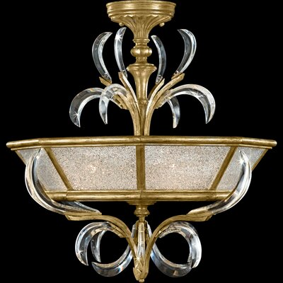 Beveled Arcs Gold 3-Light Semi Flush Mount Finish: Muted Gold Leaf