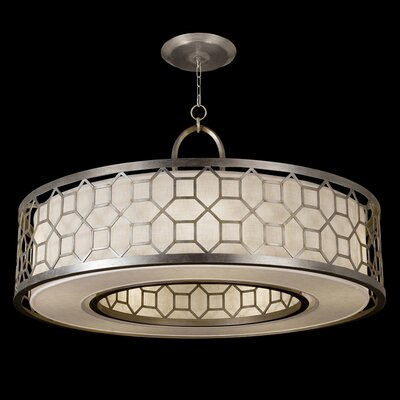 Allegretto 5-Light Drum Pendant Finish: Platinized Silver Leaf