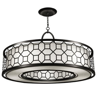 Black + White Story 5-Light Drum Pendant Finish: Black Satin