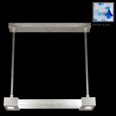 Crystal Bakehouse 2-Light Kitchen Island Pendant Finish: Silver Leaf, Shade Color: Cobalt and Aqua