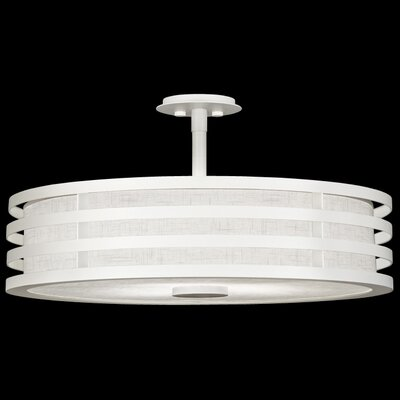 Black + White Story 3-Light Drum Pendant Finish: Studio White Satin