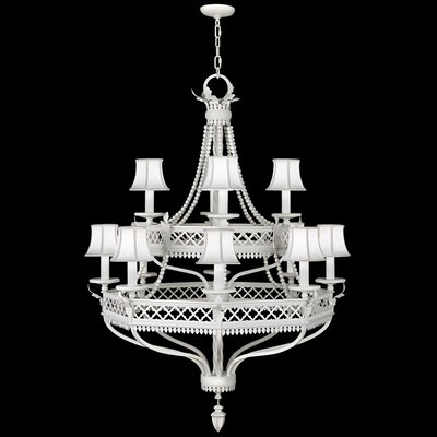 12-Light Shaded Chandelier Finish: Studio White Satin