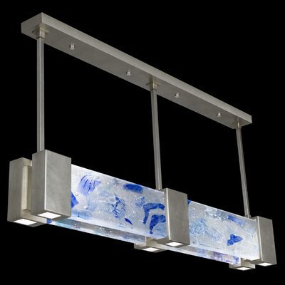 Crystal Bakehouse 6-Light Kitchen Island Pendant Shade Color: Cobalt and Aqua, Finish: Silver Leaf
